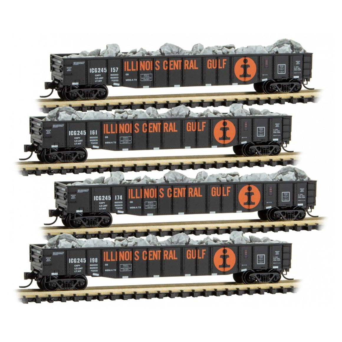 N Scale: 50' Gondola w/Load - Illinois Central Gulf - Four-pack