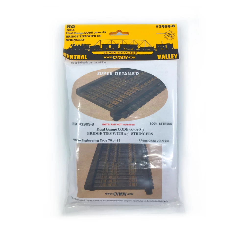 HO Scale: Dual Gauge HO/HOn3 Bridge Ties w/ 25 Foot Stringers
