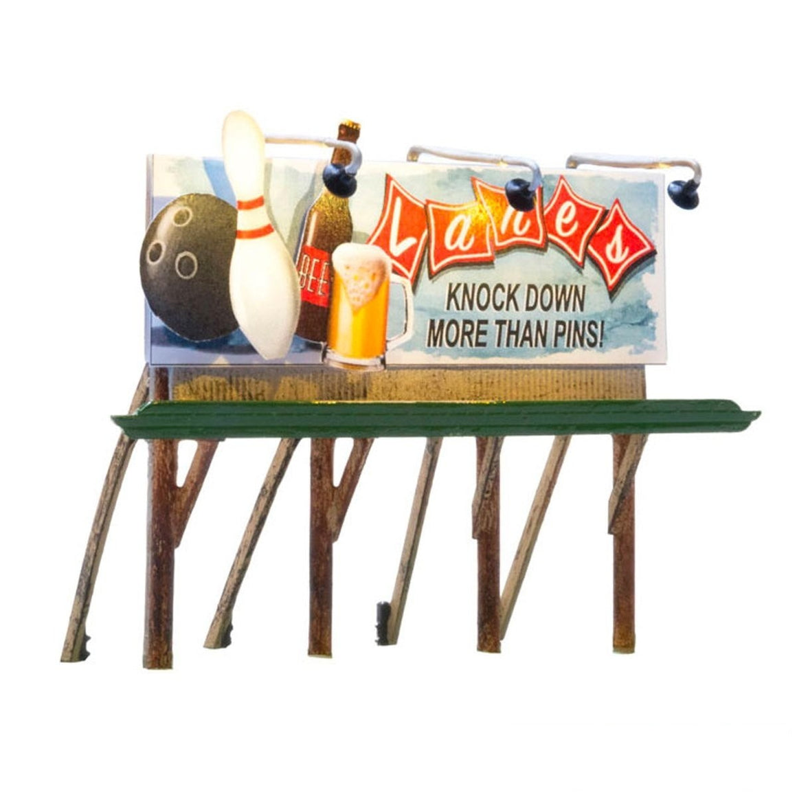 HO Scale: Just Plug® Lighted Billboard - Lane's Bowling & Bar