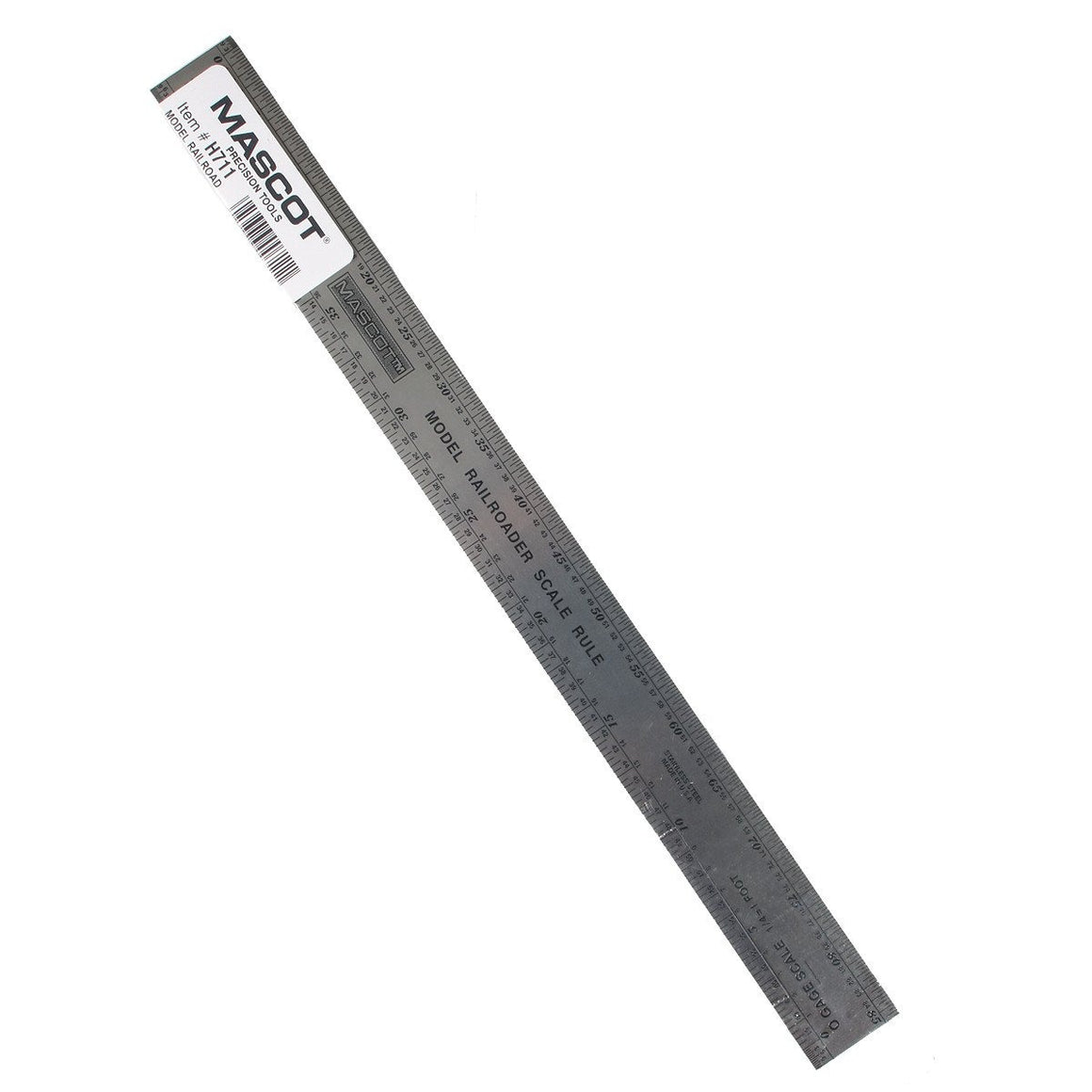 Model railroading scale ruler. MASCOT HO, N, S & O Scale Ruler