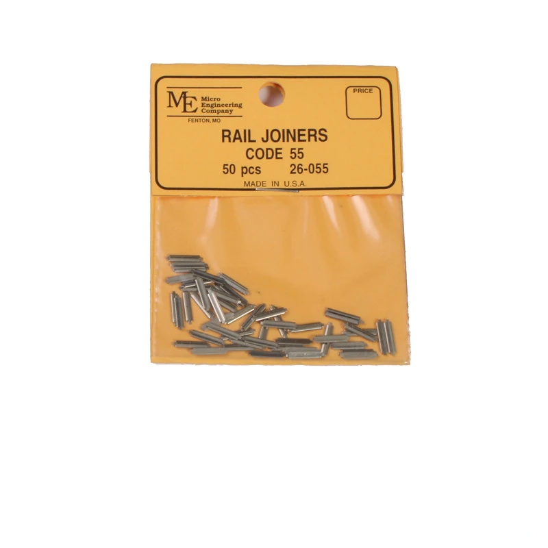 N Scale: Nickel Silver Rail Joiner - Code 55 - Qty 50