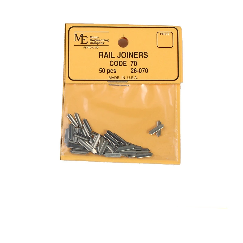 N Scale: Nickel Silver Rail Joiner - Code 70 - Qty 50