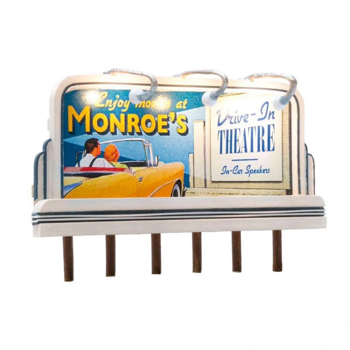 HO Scale: Just Plug® Lighted Billboard - Monroe's Drive-In Theater