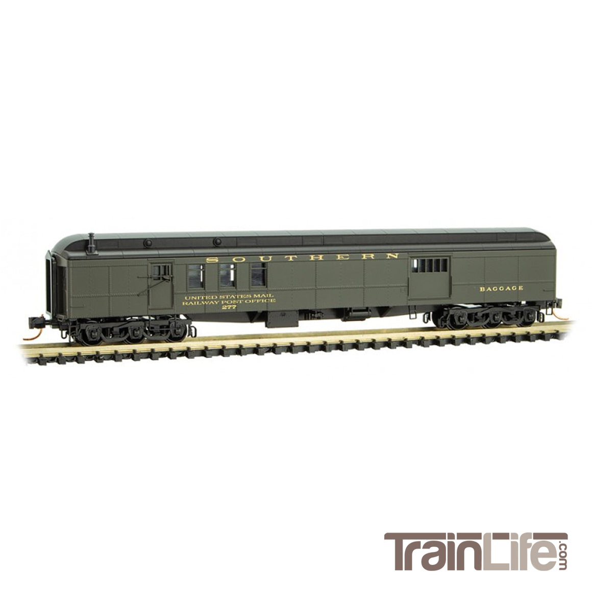 N Scale: 70' Heavyweight Mail-Baggage Car - Southern