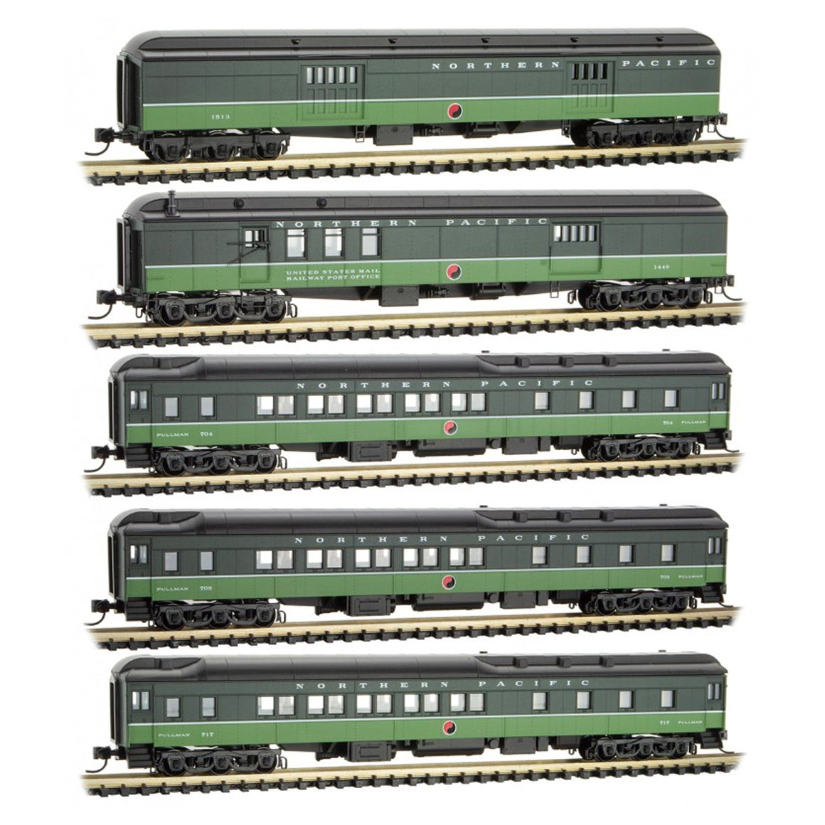 N Scale: Heavyweight Passenger Cars - Northern Pacific - 5 Pack