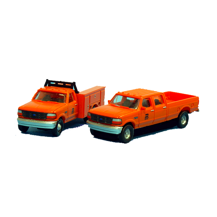 N Scale: 1992 Ford F-350 Service Truck & F-250 Crew Cab Pickup Matched Sets - Burlington Northern