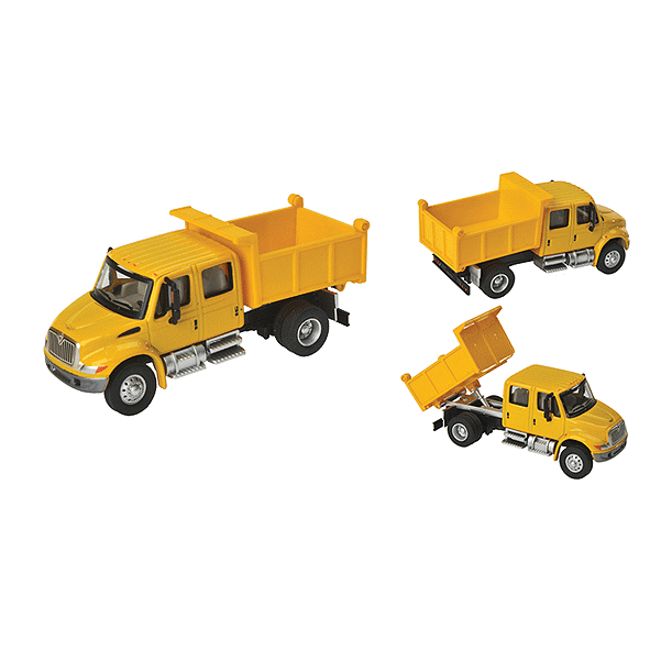 HO Scale: International® 4300 Crew Cab Dump Truck - Yellow