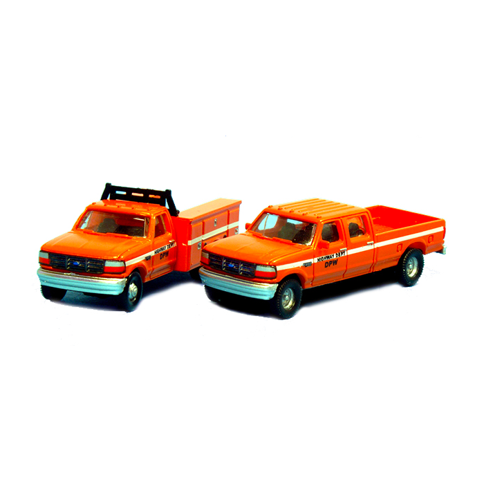 N Scale: 1992 Ford F-350 Service Truck & F-250 Crew Cab Pickup Matched Sets - DPW - Highway Department