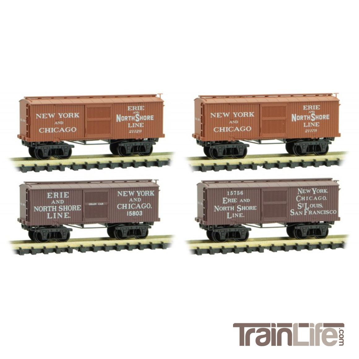 N Scale: Civil War Era Boxcars - Erie & North Shore Line - 4-Pack