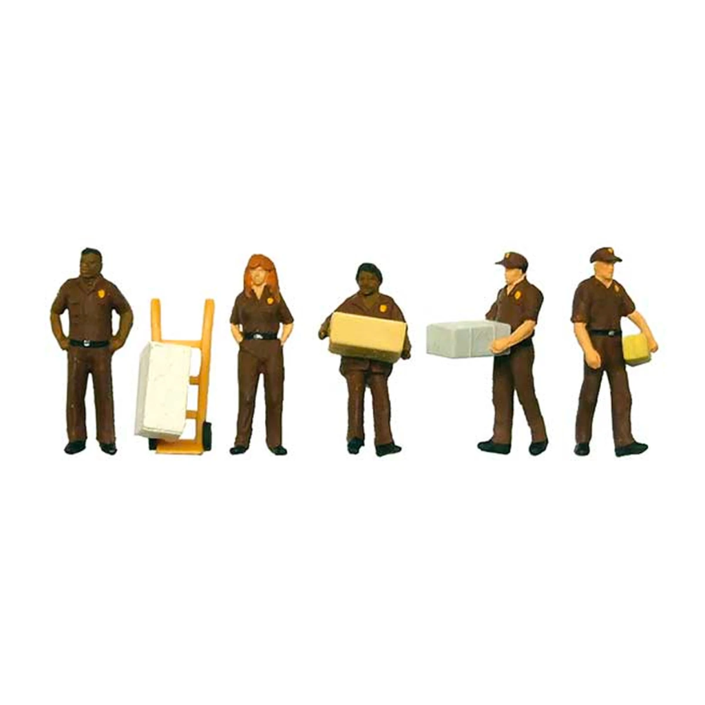 HO Scale: UPS Personnel w/ Cart
