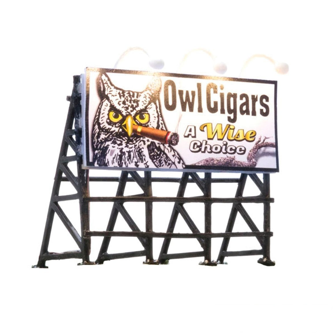 HO Scale: Just Plug® Lighted Billboard - Owl Cigars