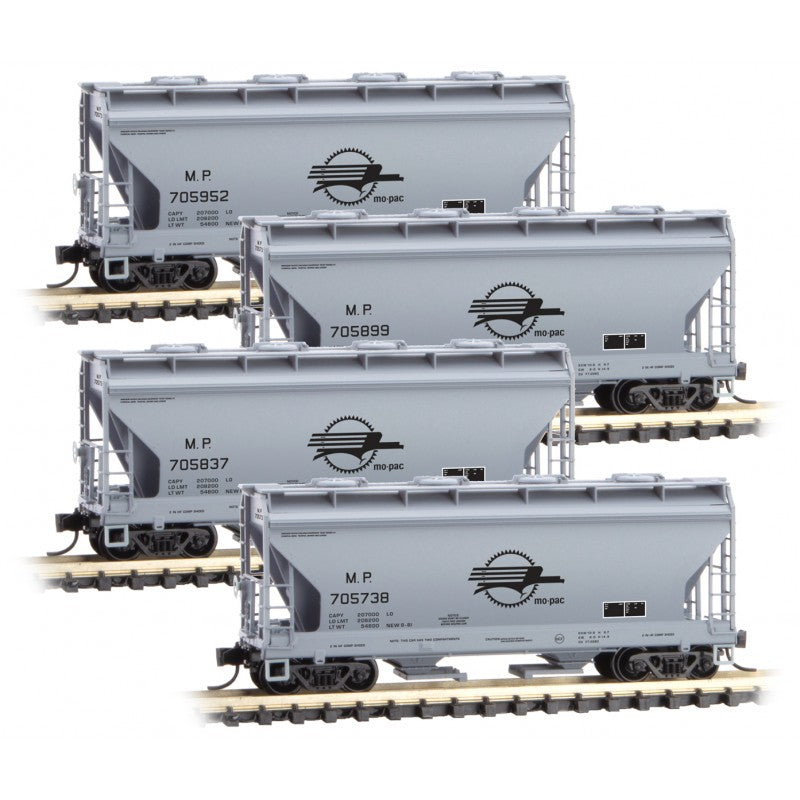 N Scale: 2-Bay Covered Hopper - Missouri Pacific - 4 Pack