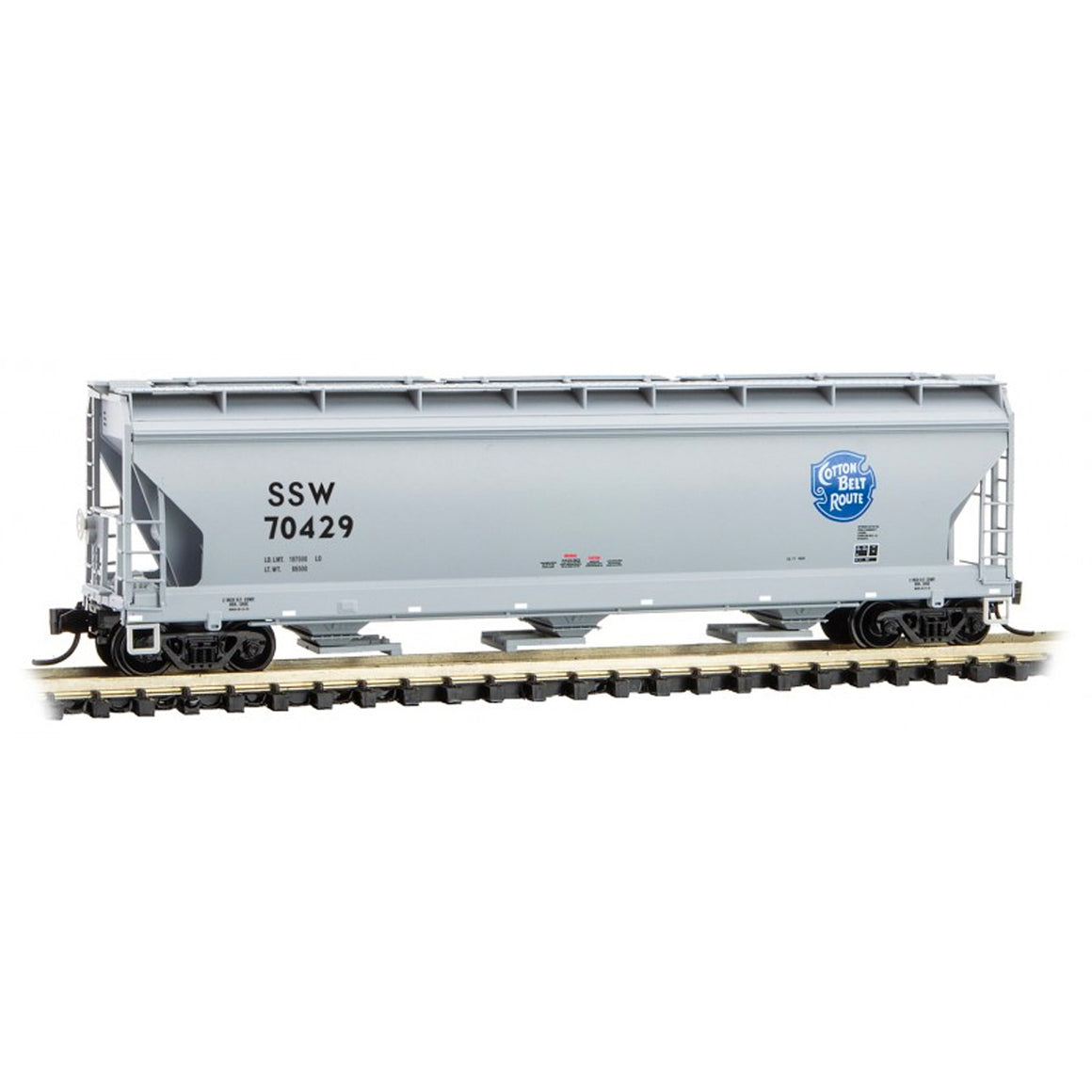 N Scale: 3-Bay Covered Hopper - Cotton Belt