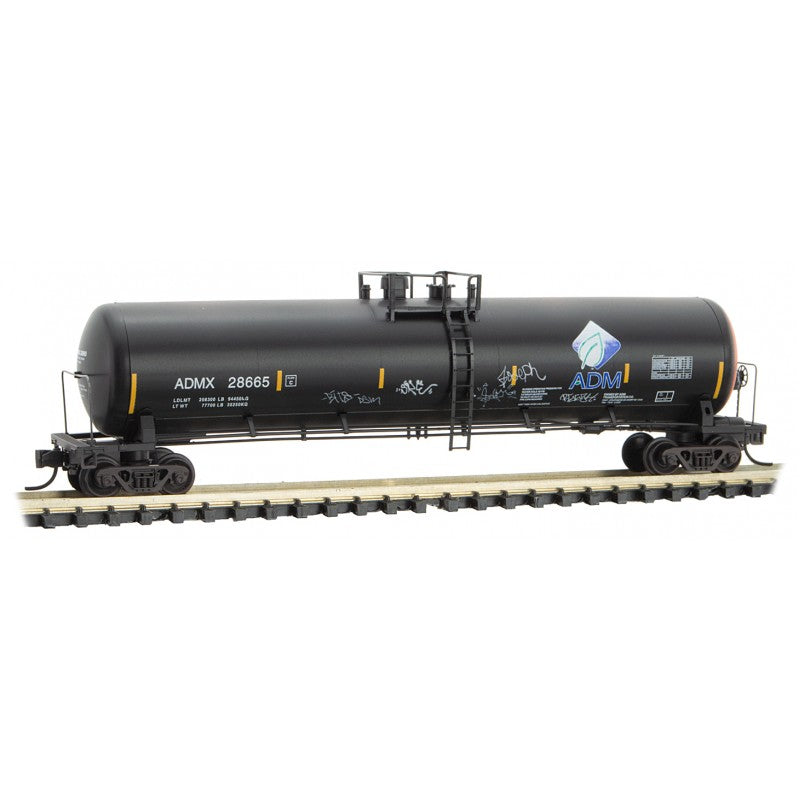 N Scale: 56' General Service Tank Car - Graffiti - ADMX