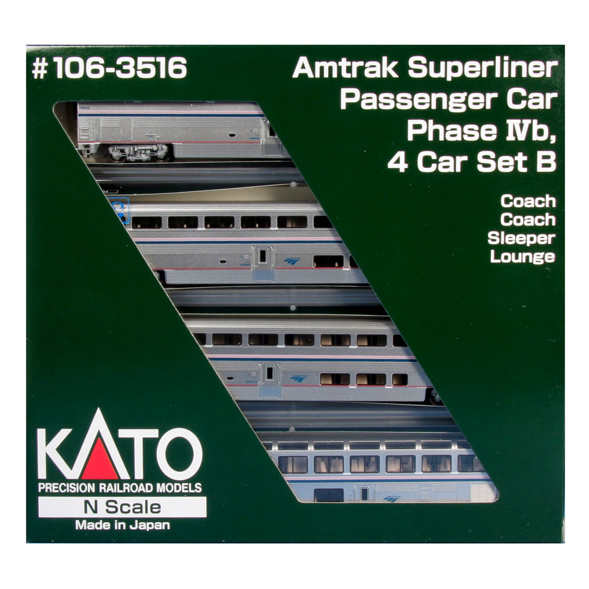 N Scale: Superliner 4 Car Sets - Lighted - Amtrak 'Phase IV'