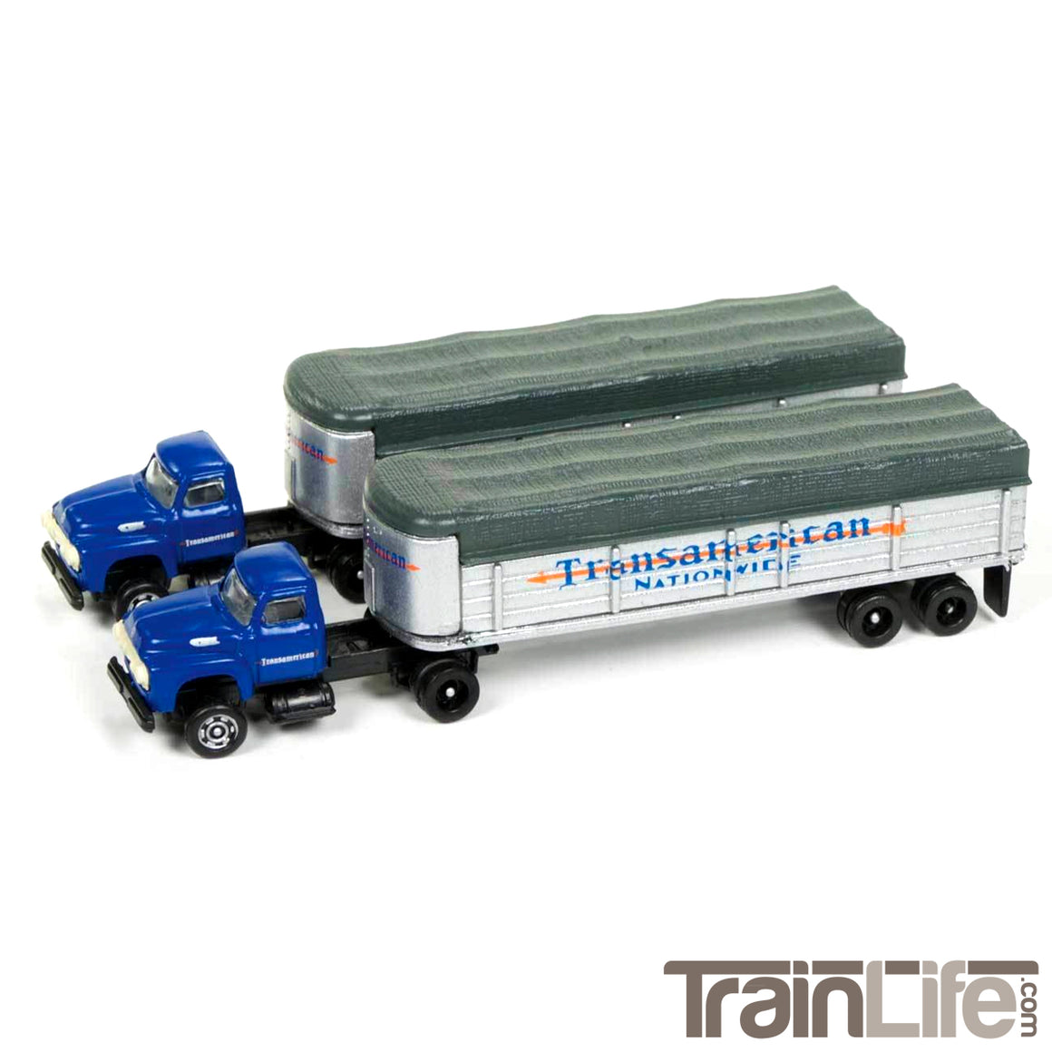 N Scale: 1954 Ford Tractor & Trailer Set - TransAmerican Trucking - 2 Pack