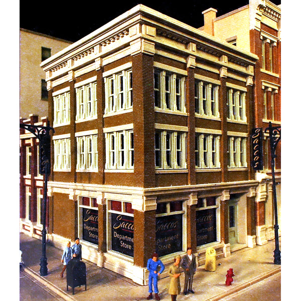 Model downtown building for model train set