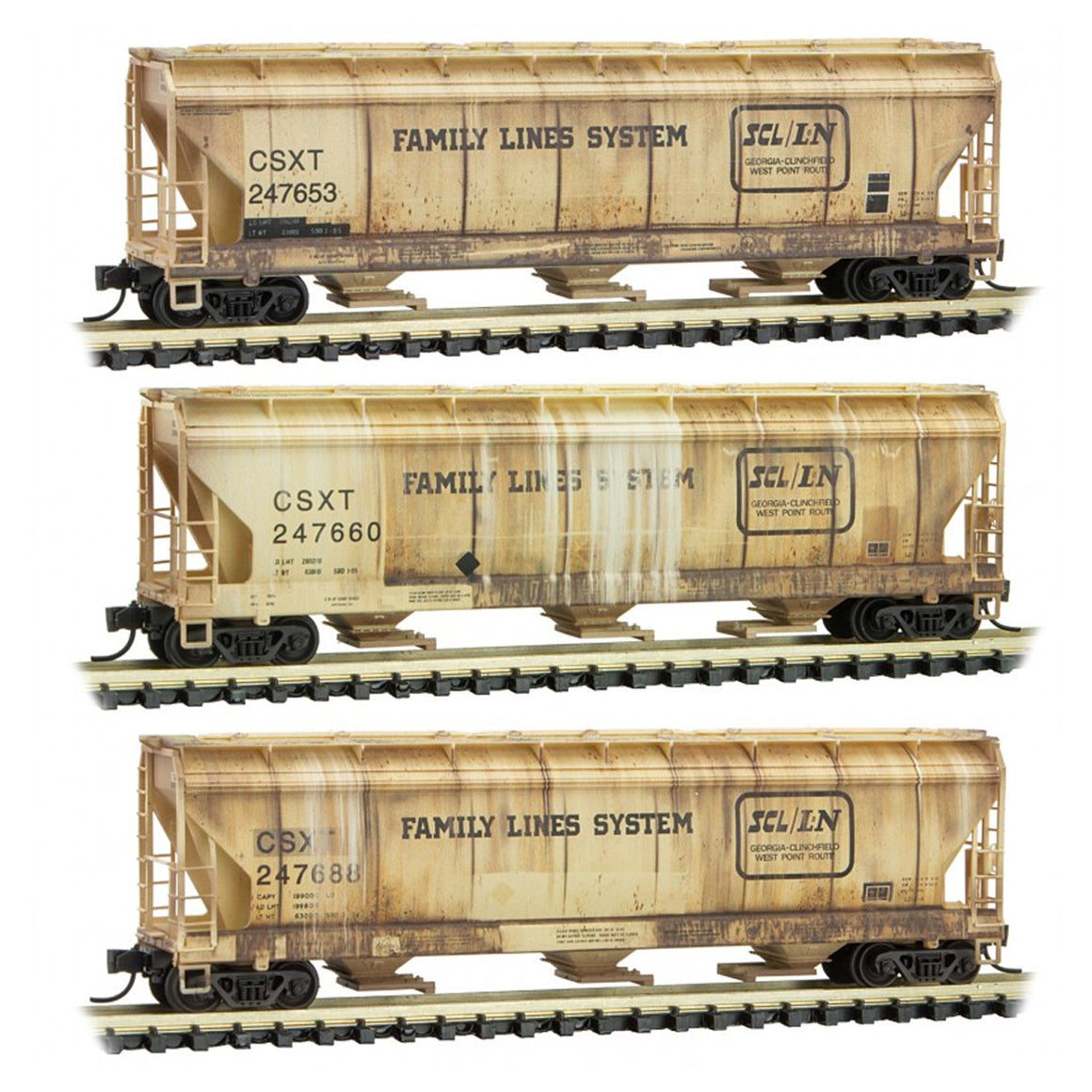 N Scale: Three-bay Covered Hoppers - Weathered - CSXT 'Family Lines' - Three-pack