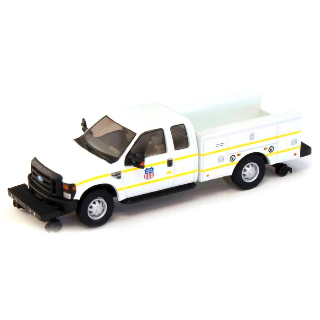 HO Scale: 2008 Ford F-350 Super Cab Truck with Service Body - Hi-Rail - UP