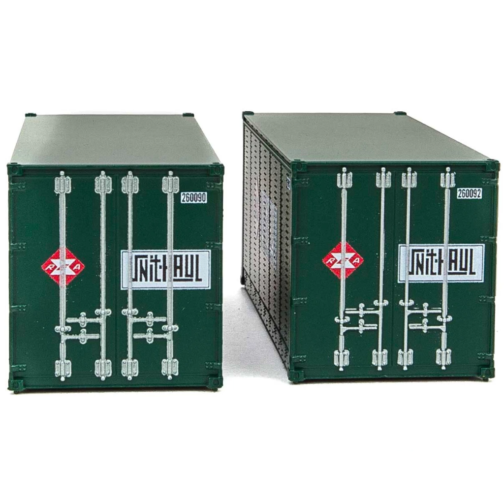 HO Scale: 20' Smooth-side Container - REA - 2-pack