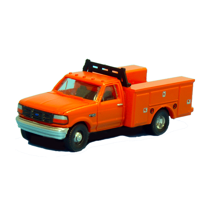 N Scale: 1992 Ford F-350 Regular Cab Service Trucks - DRW Orange - 2 pack
