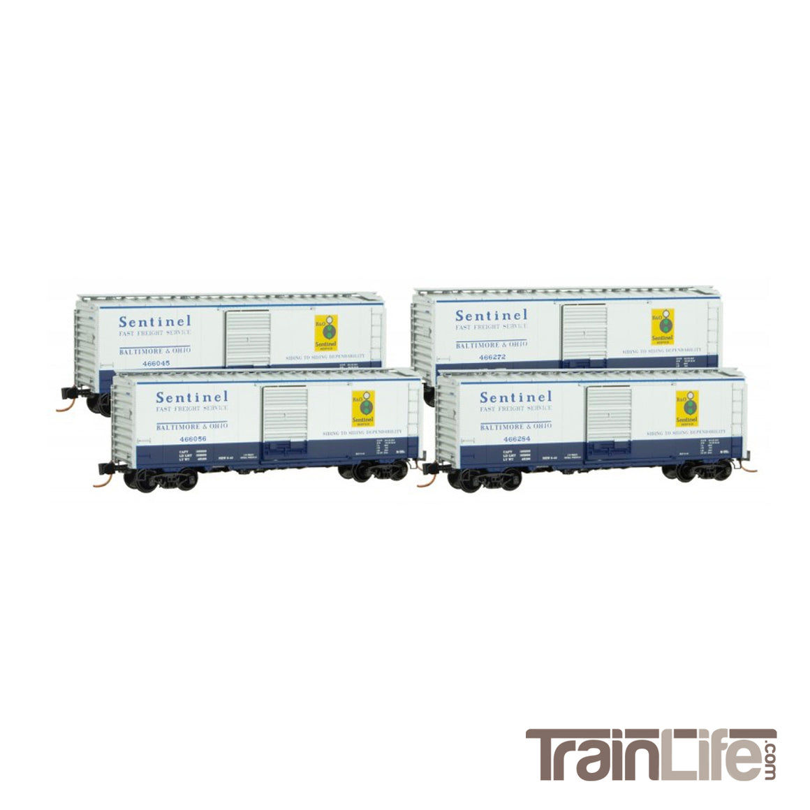 N Scale: 40-Foot Steel Boxcars - B&O 'Sentinel Fast Freight Service' - 4-Pack