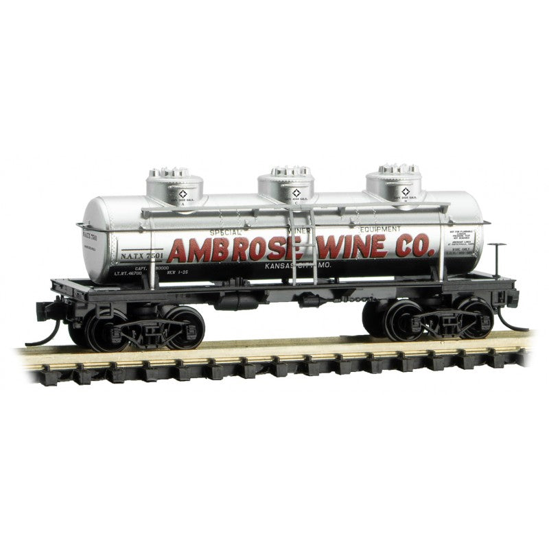 N Scale: N Scale: 3-Dome Tank Car - Ambrose Wine