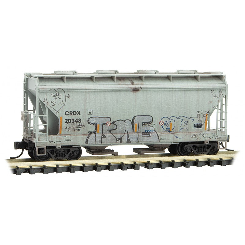 N Scale: 2-Bay Covered Hopper - Graffiti - CRDX 'Halloween'