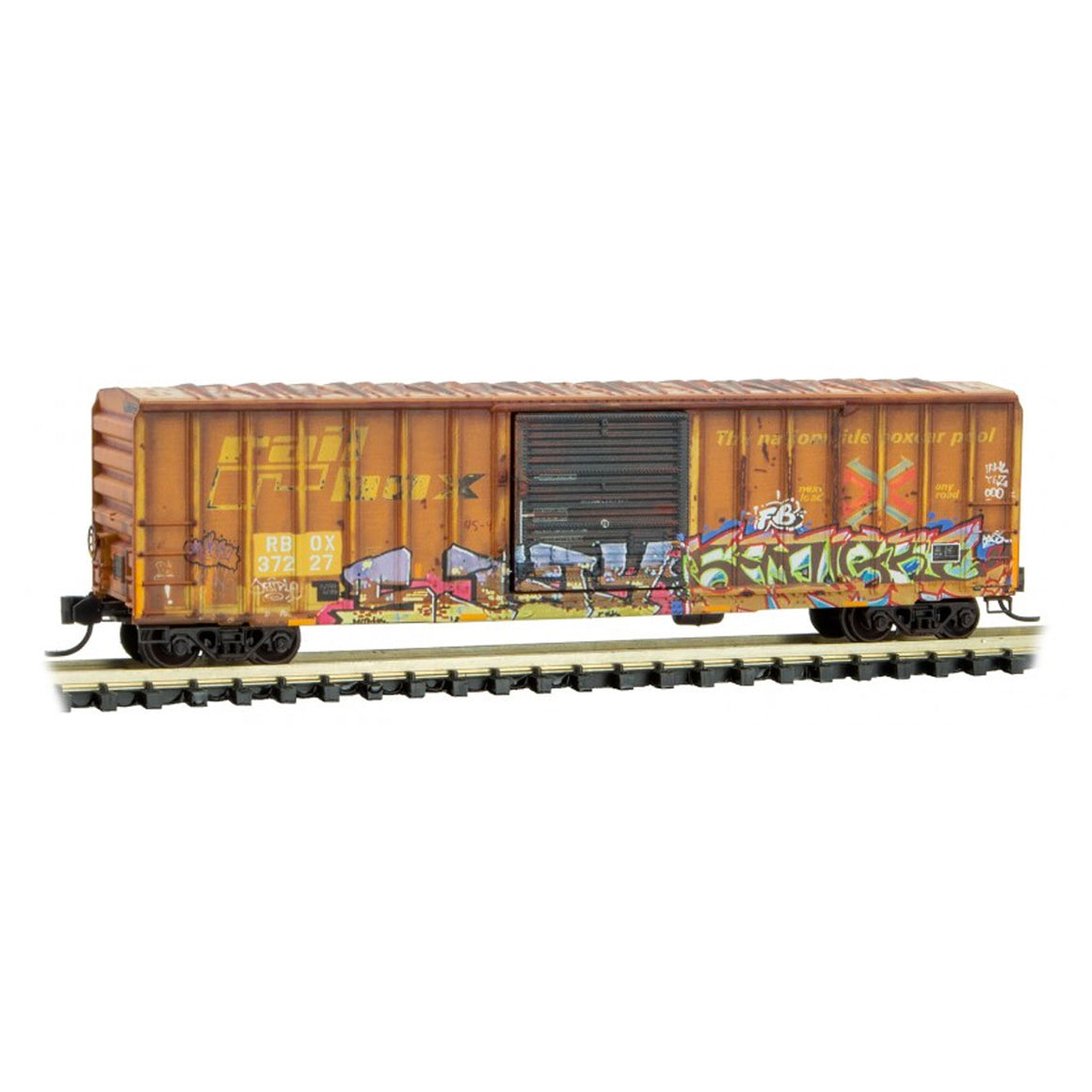 N Scale: 50' Rib Side Box Car - RBOX 'Science Fiction Grafitti'