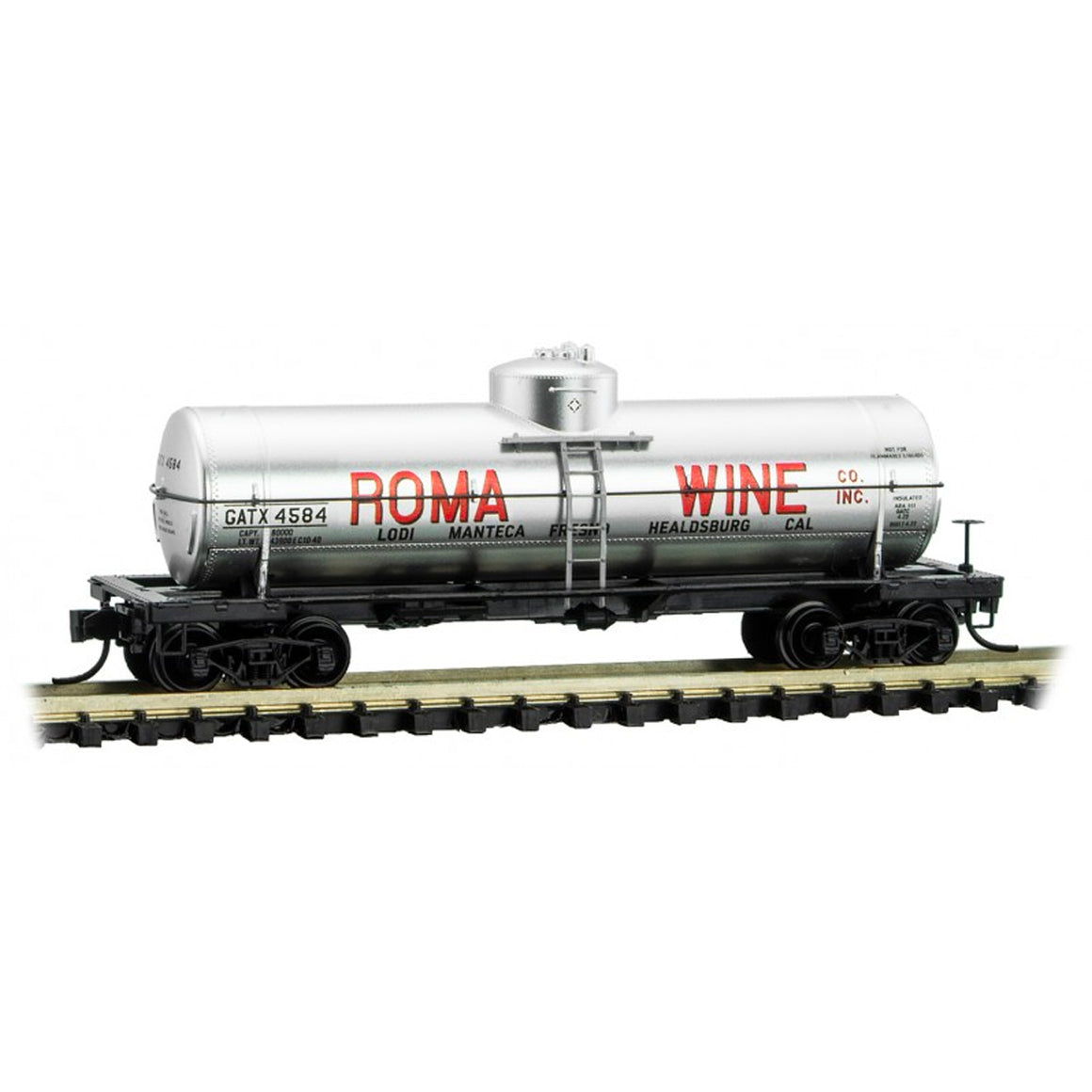 N Scale: 39' Single Dome Tank Car - GATX 'Roma Wine'