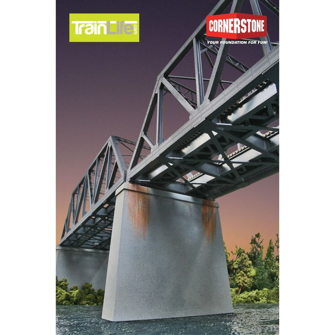 HO Scale: Double-Track Railroad Bridge Concrete Piers pkg(2)