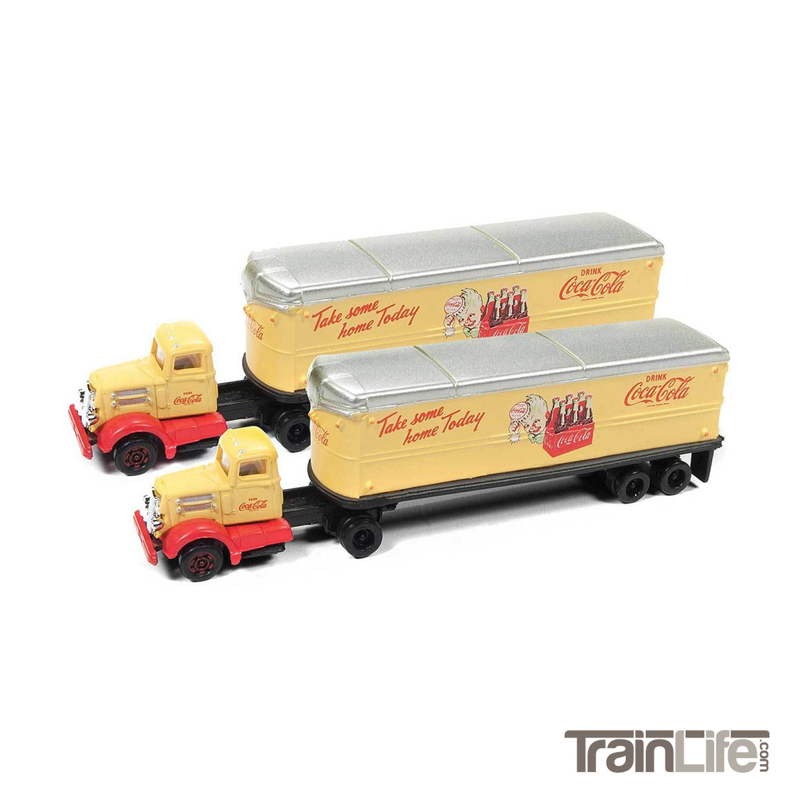 N Scale: WC22 Tractor & Trailer Set - Coca Cola - 2 Pack