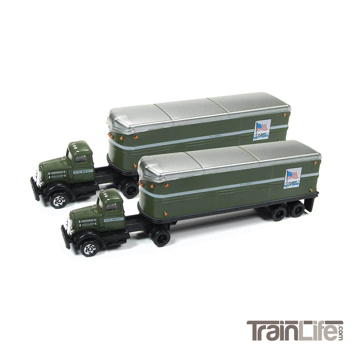 N Scale: WC22 Tractor & Trailer Set - United States Postal - 2 Pack