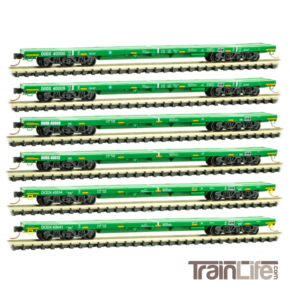 N Scale: DODX Flat Car Set - 'Cascade Green' - 6-Pack
