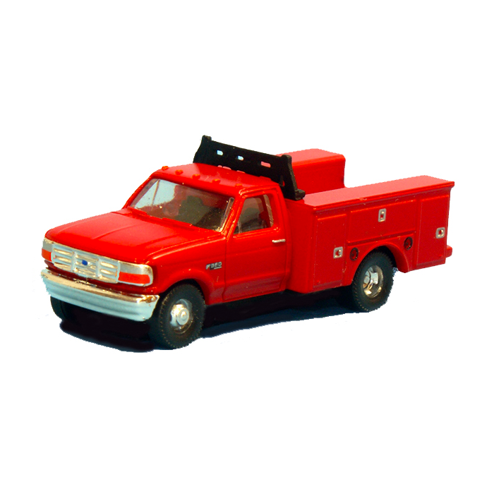N Scale: 1992 Ford F-350 Regular Cab Service Trucks - DRW Red - 2 pack