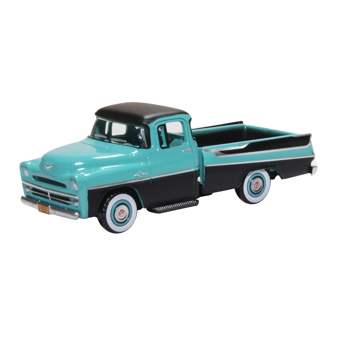 HO Scale: 1957 Dodge D100 Sweptside Pickup Truck - Turquoise & Jewel Black