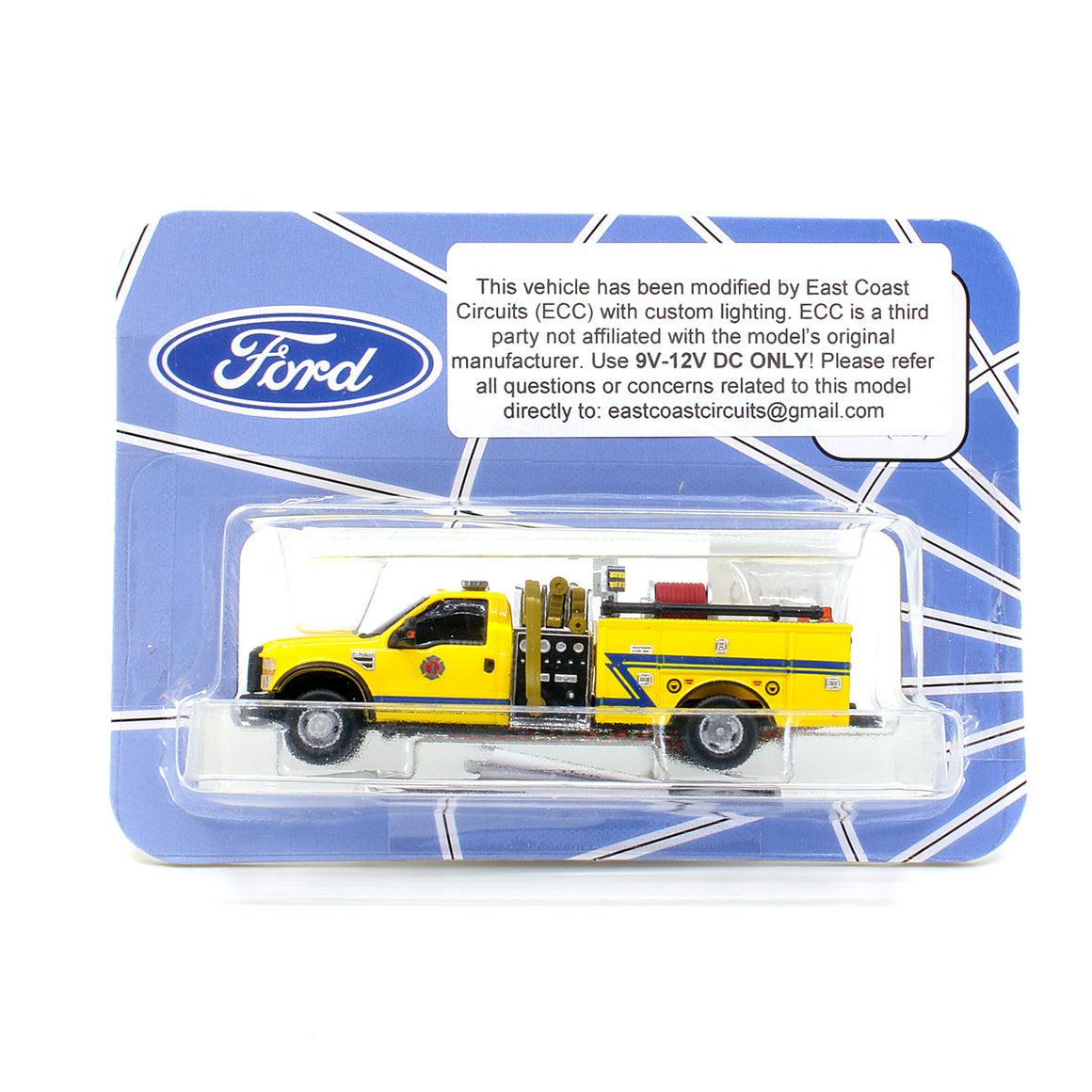 HO Scale: Lighted Ford F-550 - Mini Pumper Fire Truck - Yellow w/ Blue Z Stripe