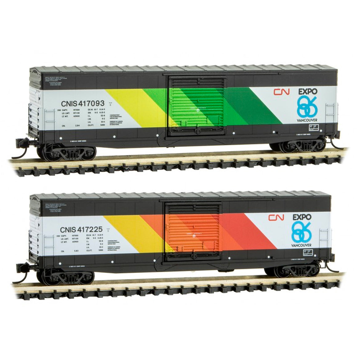 N Scale: 50' Standard Box Car - Canadian National 'EXPO Vancouver' - 2 Pack