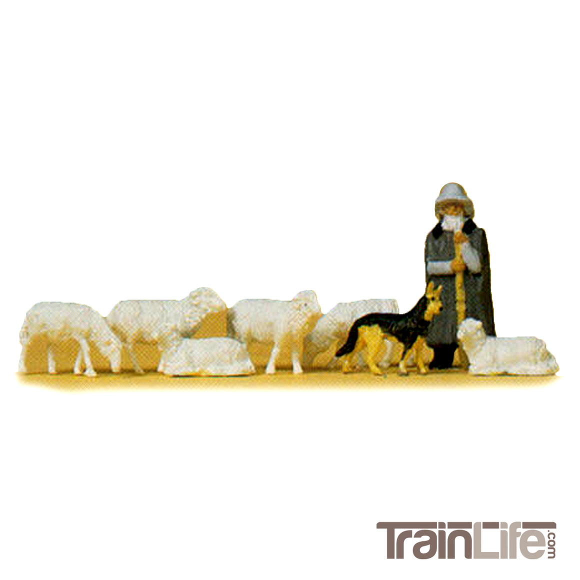HO Scale: Shepherd with Sheep and Dog
