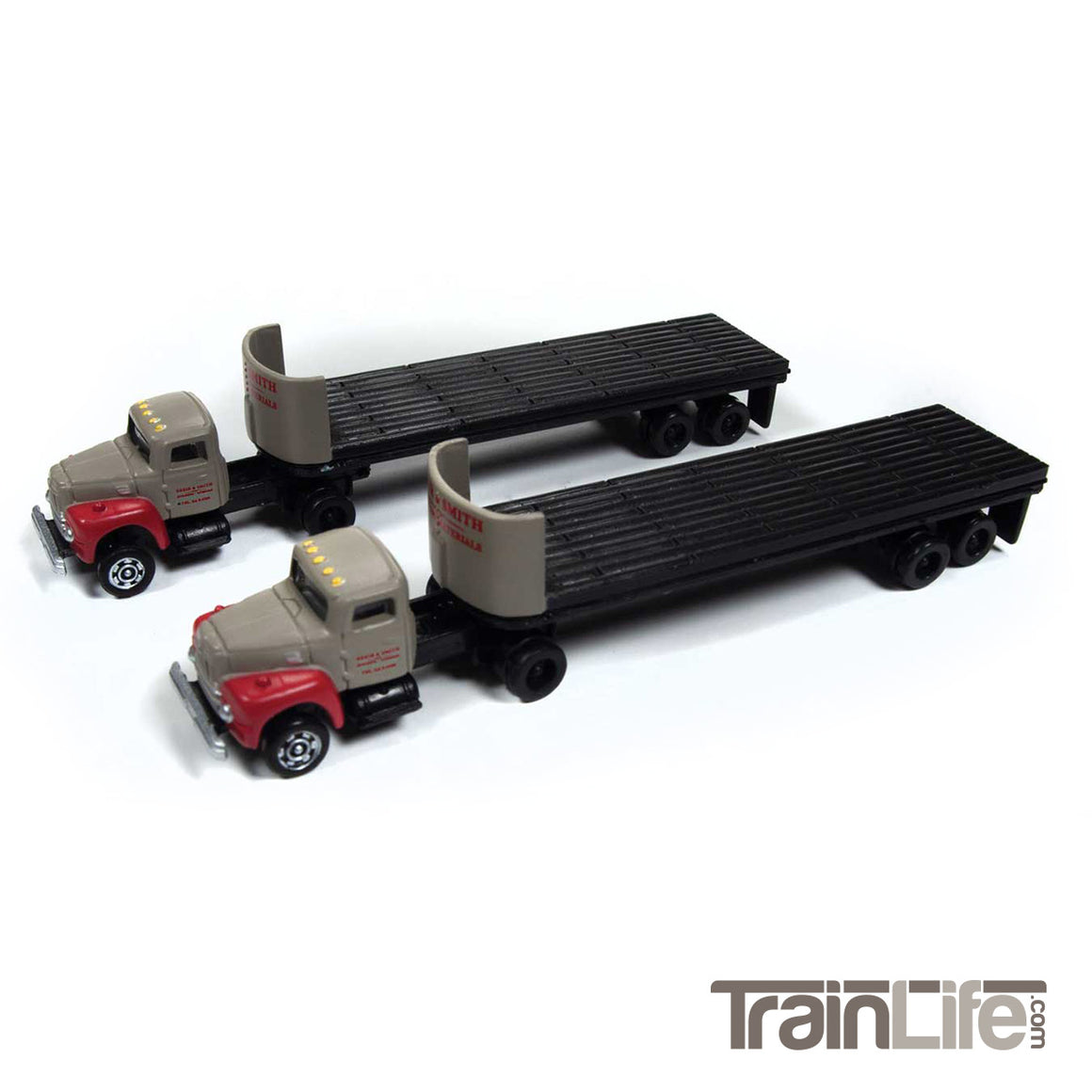 N Scale: IH R190 Tractor with Flatbed Trailer Breir & Smith Building Materials - 2 Pack