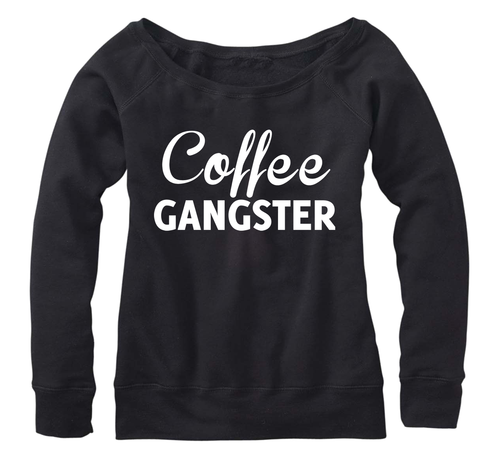 Coffee Gangster Fleece, Wideneck Pullover
