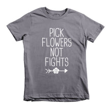 Pick Flowers not Fights, boho, hippie style, Short sleeve kids t-shirt