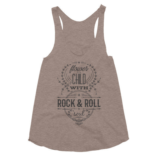 Flower child with a Rock & Roll soul, festival style, racerback tank