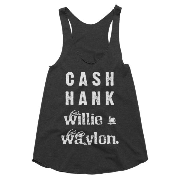 Cash Hank Willie and Waylon Coutnry Music, Festival racerback tank