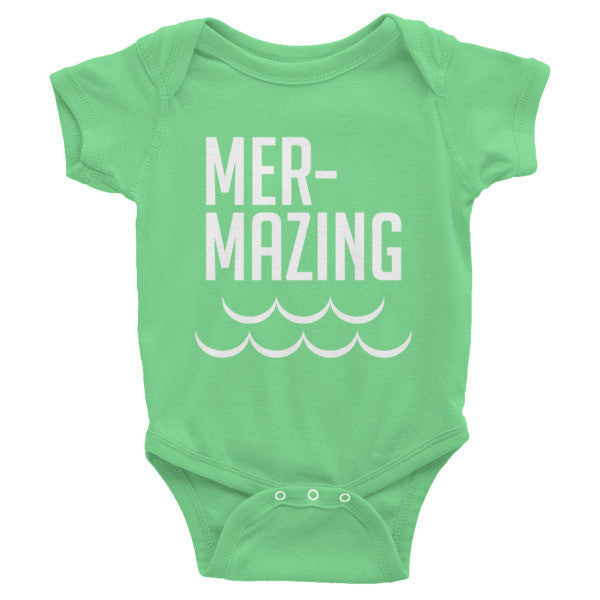 Mer-mazing, mermiad, merbaby, Infant short sleeve one-piece, onesie