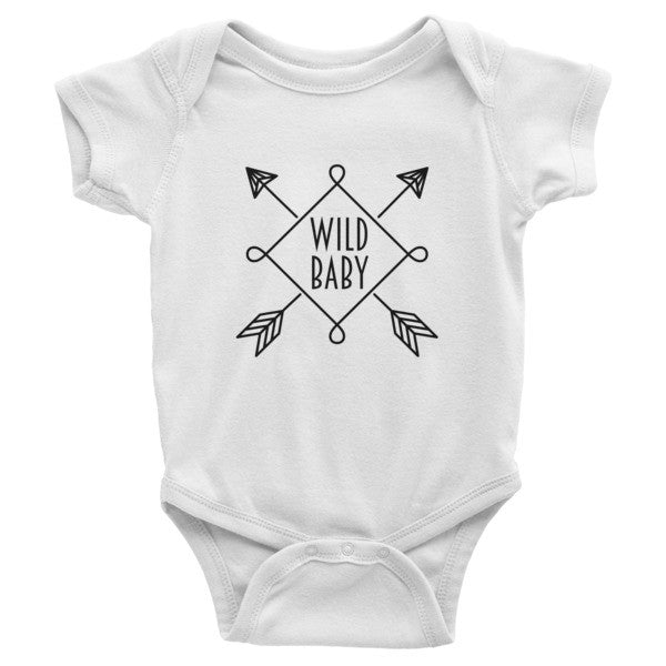 Wild Baby, boho, gypsy, hippie style, Infant short sleeve one-piece, onesie