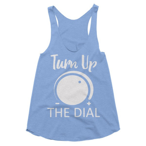 Turn Up The Dial white print vintage feel Racerback tank