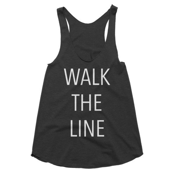 Walk the line country music, festival, vintage style racerback tank