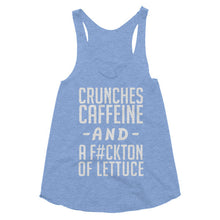 Crunches Caffeine and a Fuckton of Lettuce racerback tank