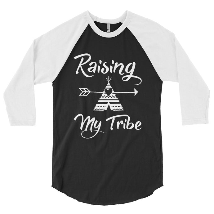 Raising my tribe, boho, teepee, arrow, 3/4 sleeve raglan shirt